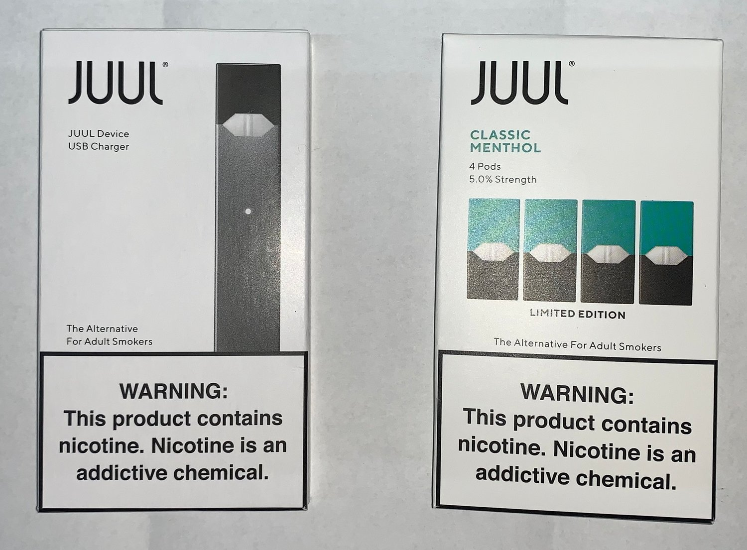 Among the items told were JUUL vaping devices and liquid nicotine pads, police said.