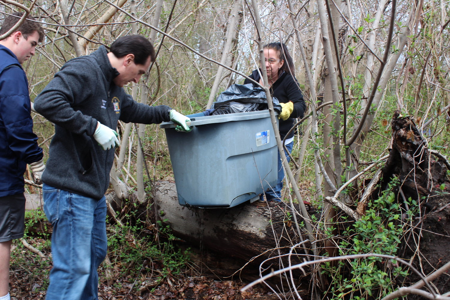 Though wearing gloves, State Sen. Todd Kaminsky got his hands dirty, so to speak.