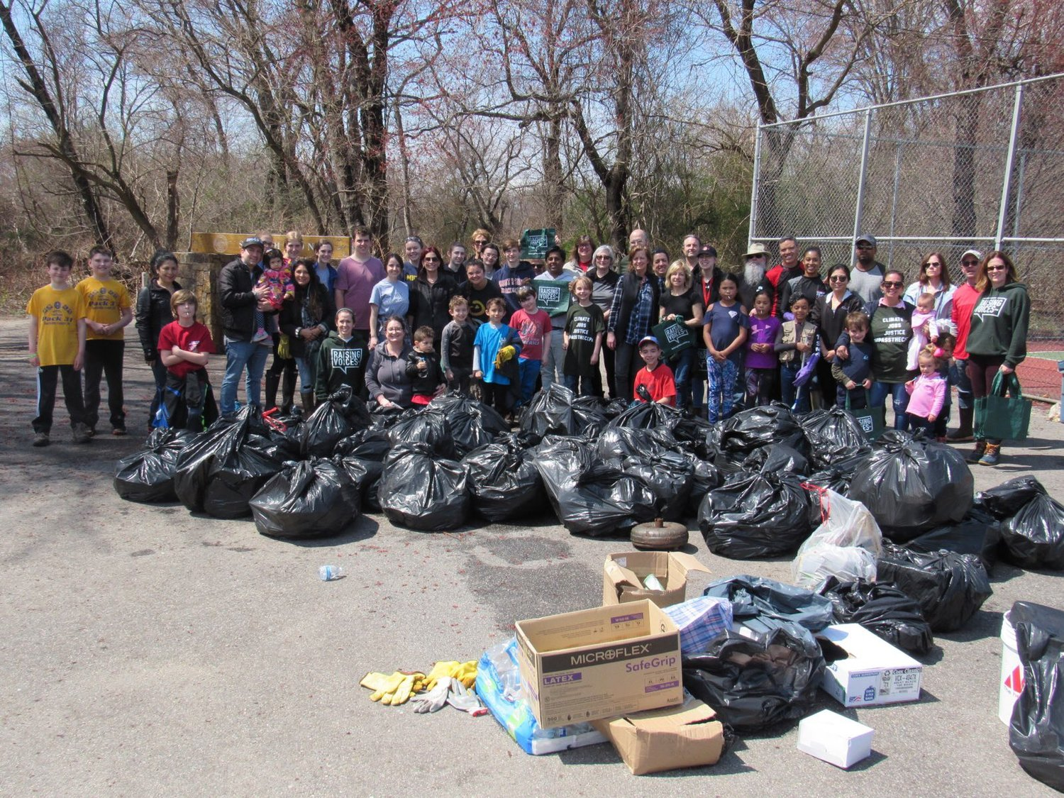 Dozens of community members collected trash at Smith Pond and Morgan Days Park in Rockville Centre on April 13.