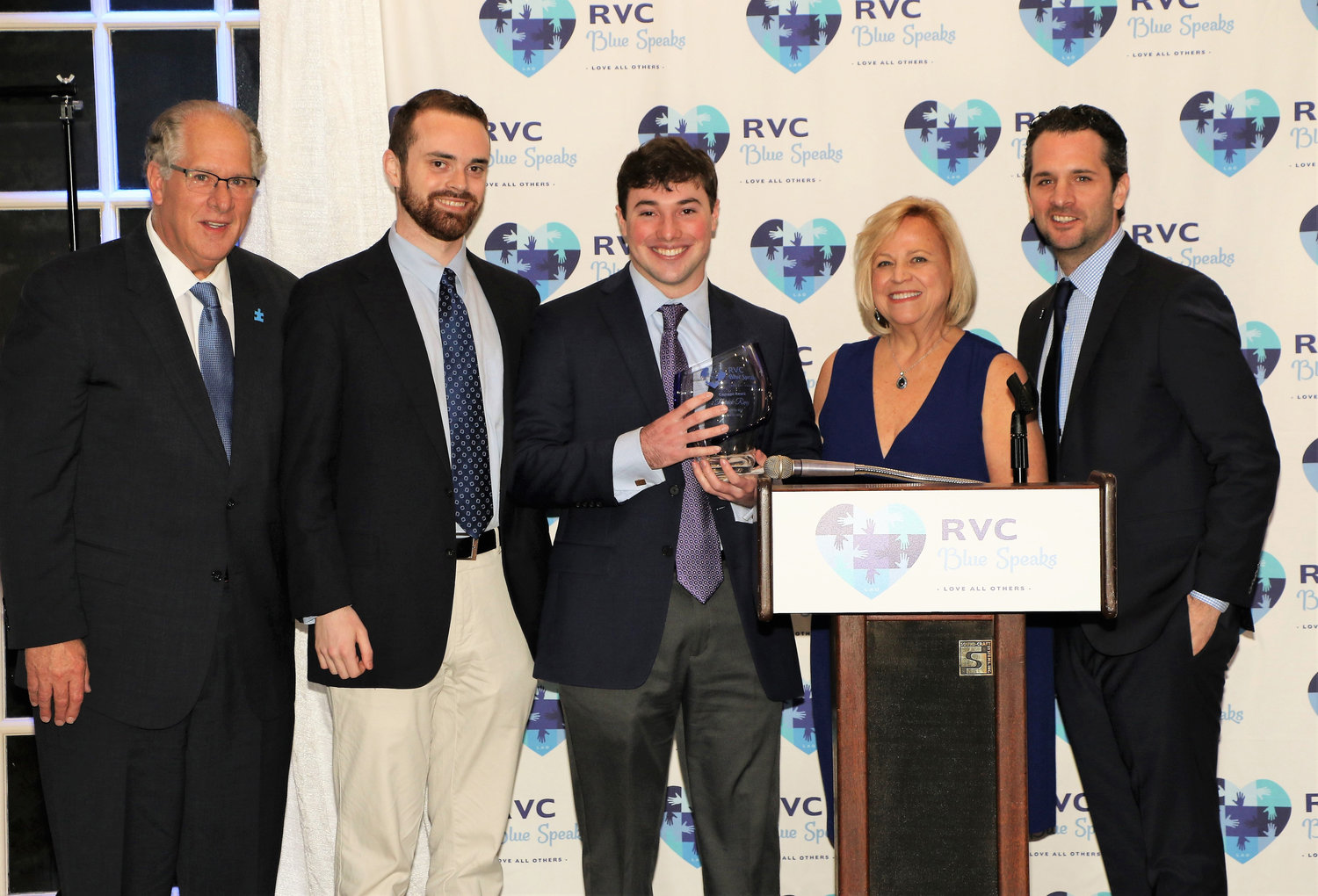 Anthony Cancellieri, far left, joined 2018 Courage Award winner Sean Caulkin Patrick Ring, who won this year's Courage Award, Mary Lou Cancellieri and Rob Cancellieri.