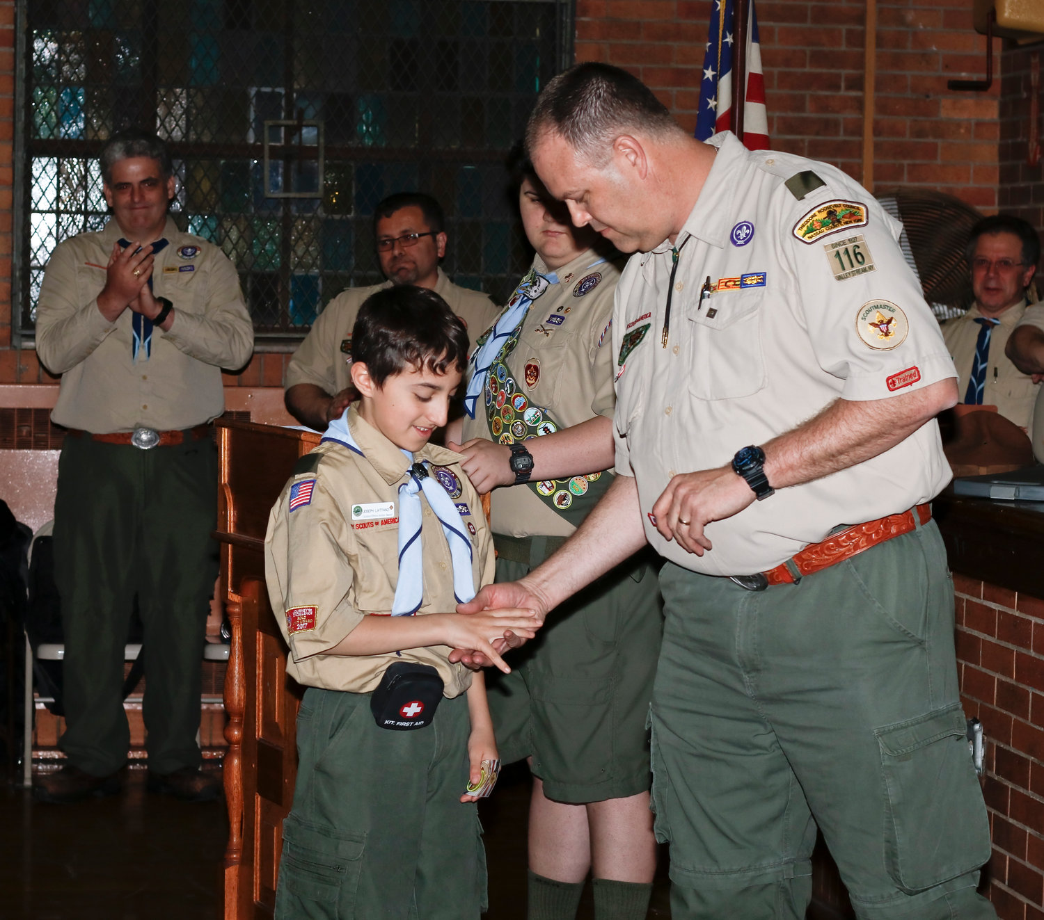 Joseph Lattanzi received the Recruiter Award from Scoutmaster Andy Mihalick.