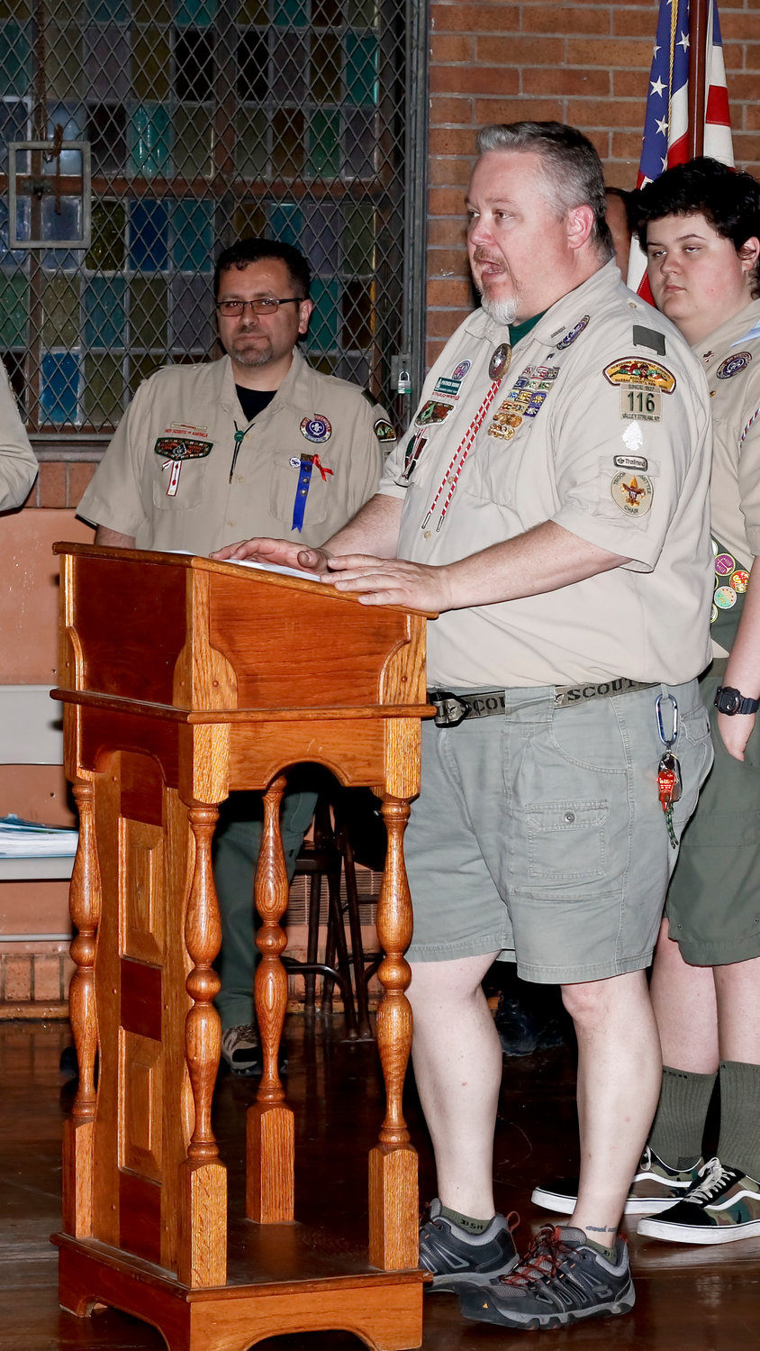 Committee Chairman Patrick Burke spoke of  scouting at the ceremony.