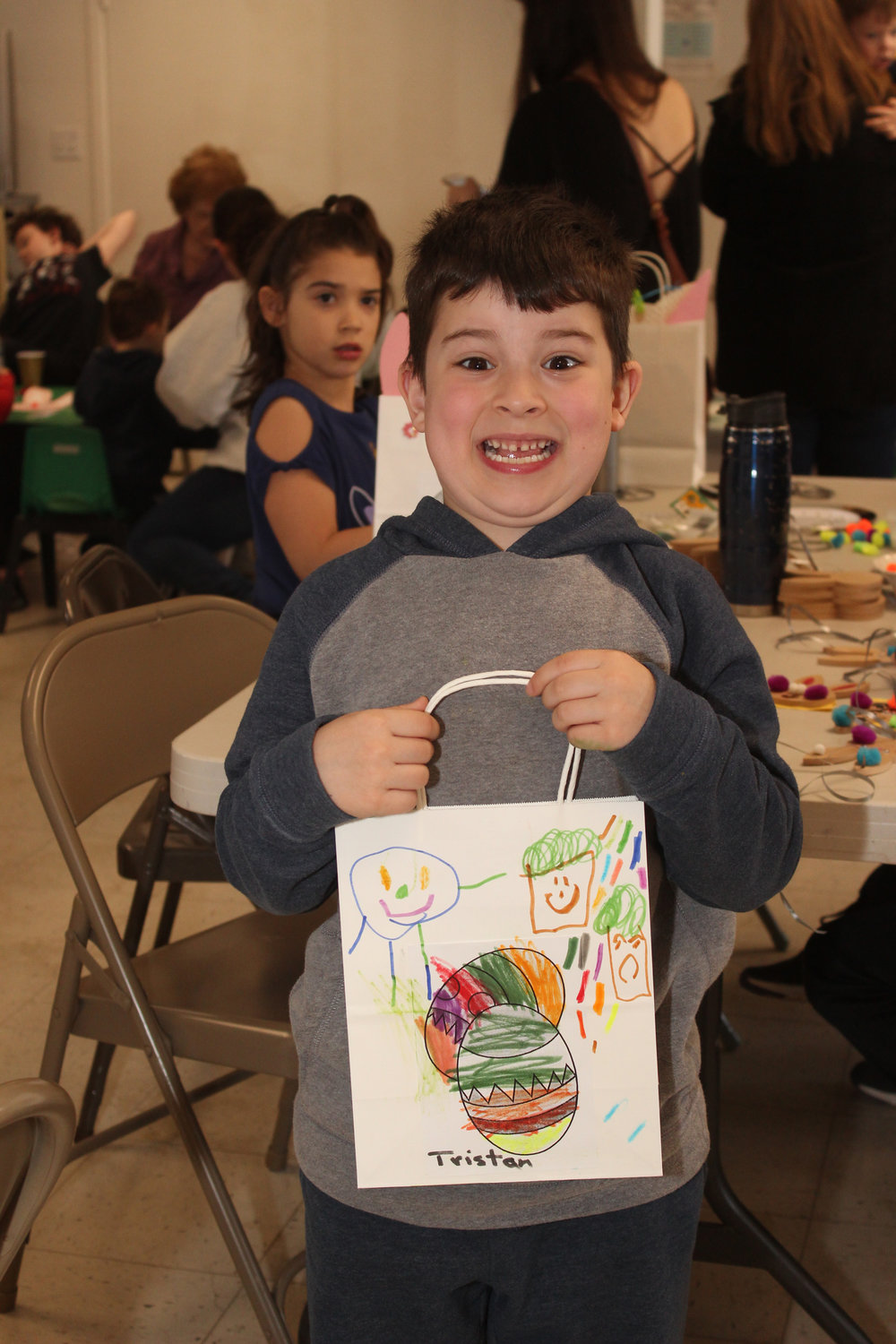 Weber was excited about the Easter bag he created to collect eggs.