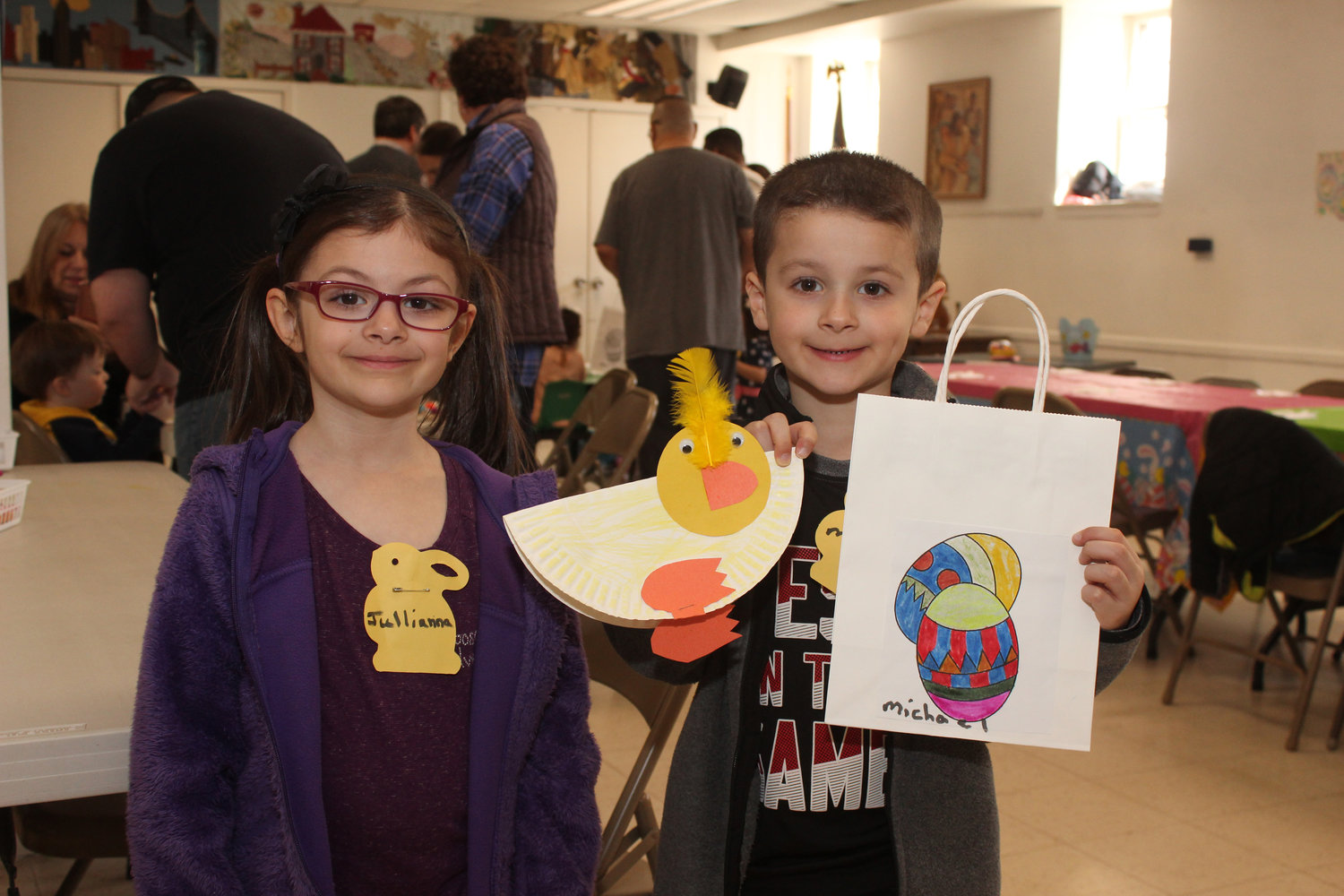 The First Presbyterian Church of Oceanside hosted its Easter Funday event on April 6, when children and their families took part in a variety of springtime activities. Twins Julianna and Michael Sciglibaglio, 6, displayed the Easter bags they decorated.