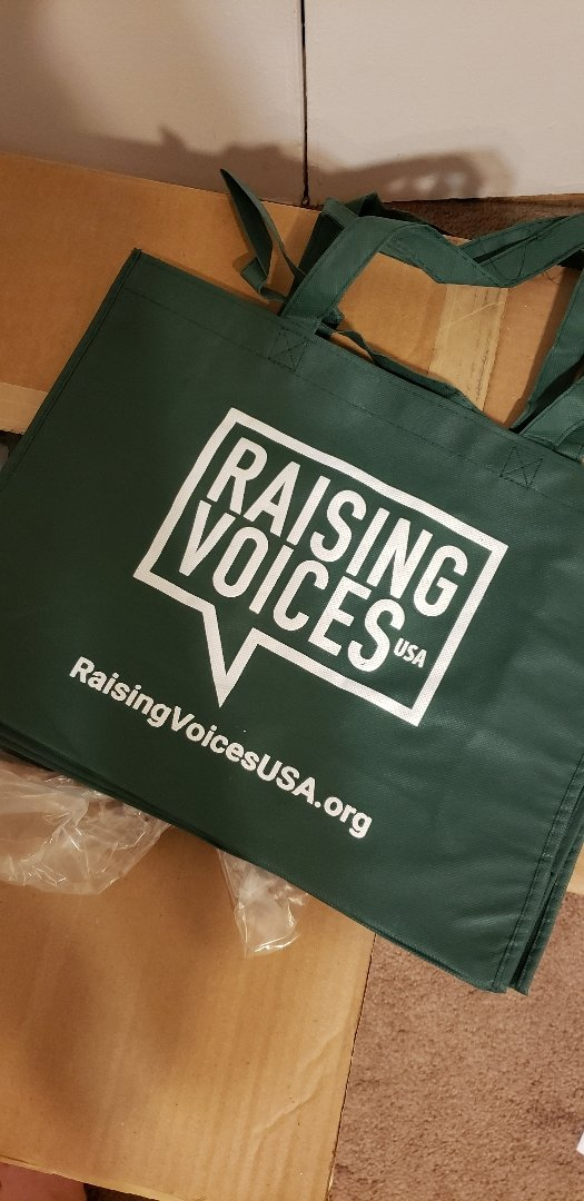 Reusable bags were distributed at a recent clean-up at Smith Pond by Rockville Centre-based organization Raising Voices USA.
