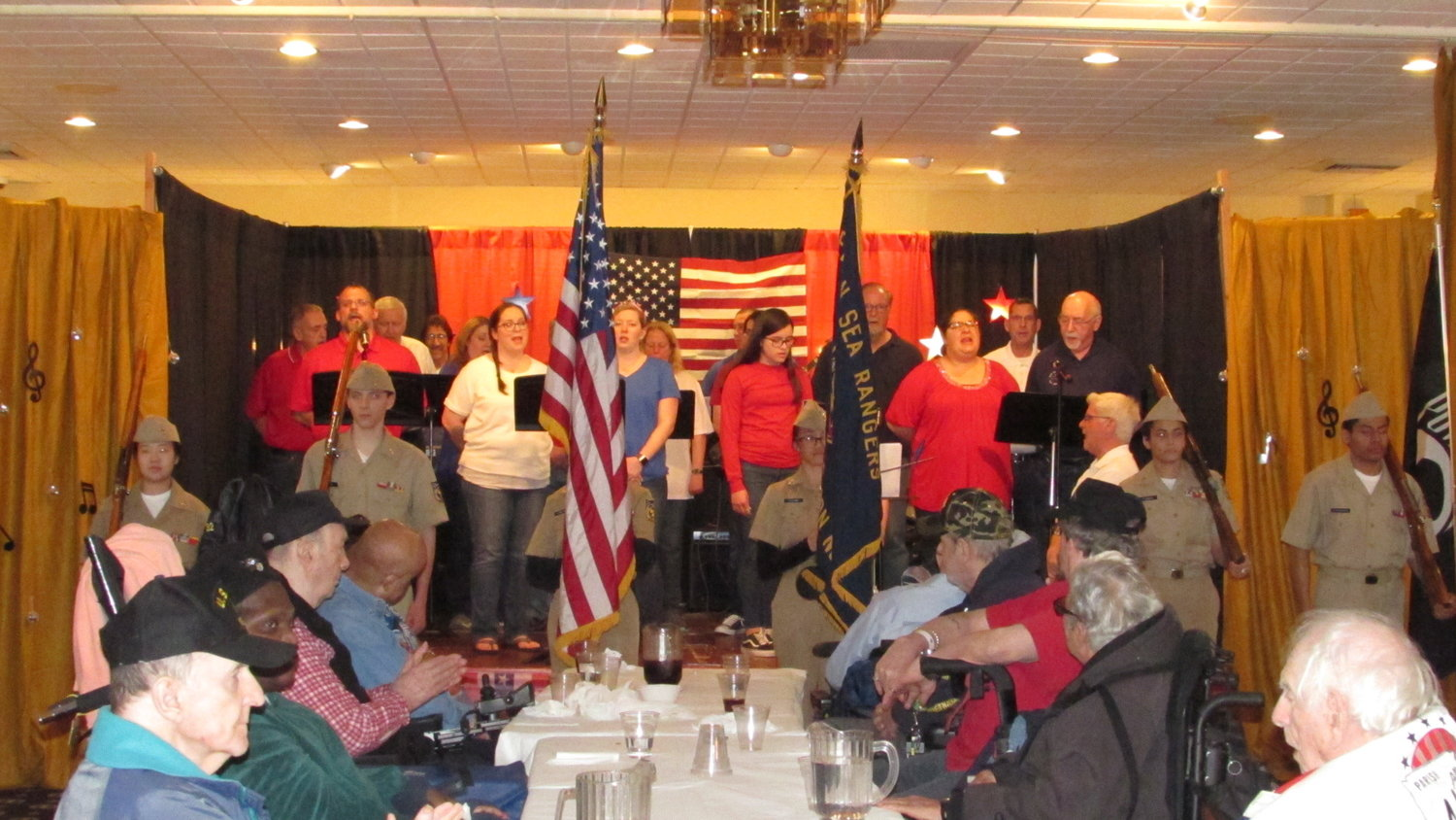 "Lynbrook's New York Elks Lodge No. 1 recently hosted 155 veterans for its annual ""A Salute to Our Veterans"" event, during which they were served a hot meal and a cast of volunteers put on performances and songs."
