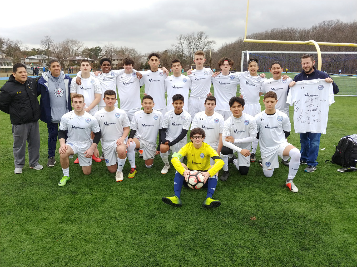 On opening day of the Hewlett Lawrence Soccer Club included games and presentations. Standing from left were Edson Melgarejo, Sabino Vardaro, Armando Vardaro, Vlad Fleurant, Ian Geraghty, Chris Gutierrez, Logan Miller, Adrian Sierzega, Connor Corbett, Alex Rosales, Juan Sanchez and Gavin Silver. Kneeling from left were Fletcher Goodman, Jake Nagar, Carlos Aguilar, Fernando, Alvarado, Fabrizio Caruso, Antony Tortola, Lawrence Brenner. Kyle Scallan with ball.