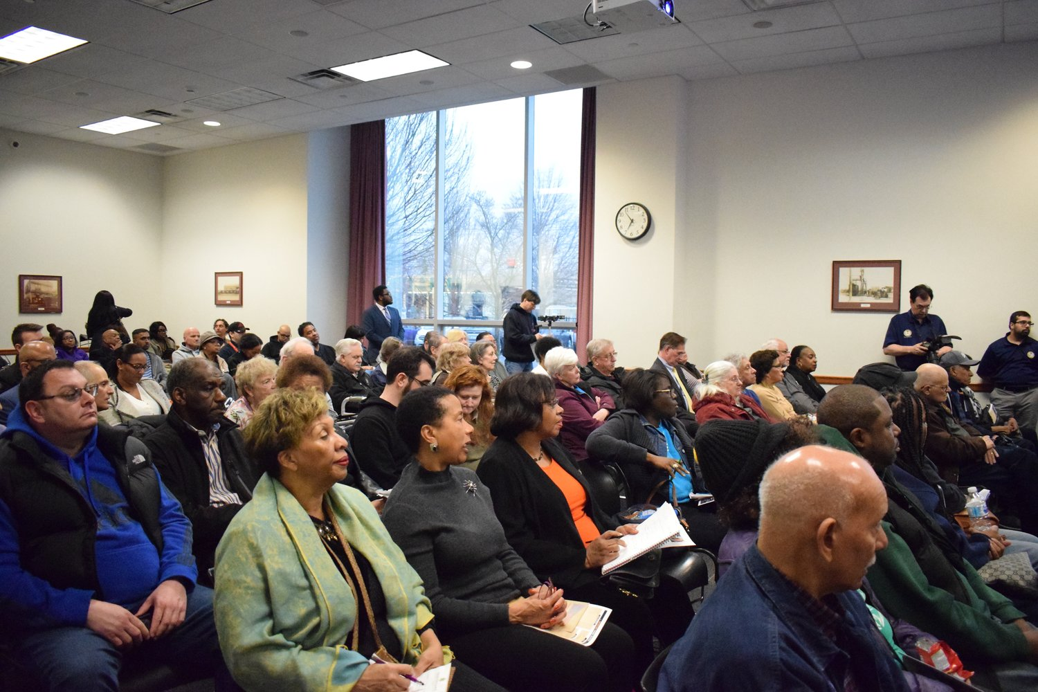 Local residents gathered at the Elmont Memorial Library for the Elmont Civic Meeting on April 11.