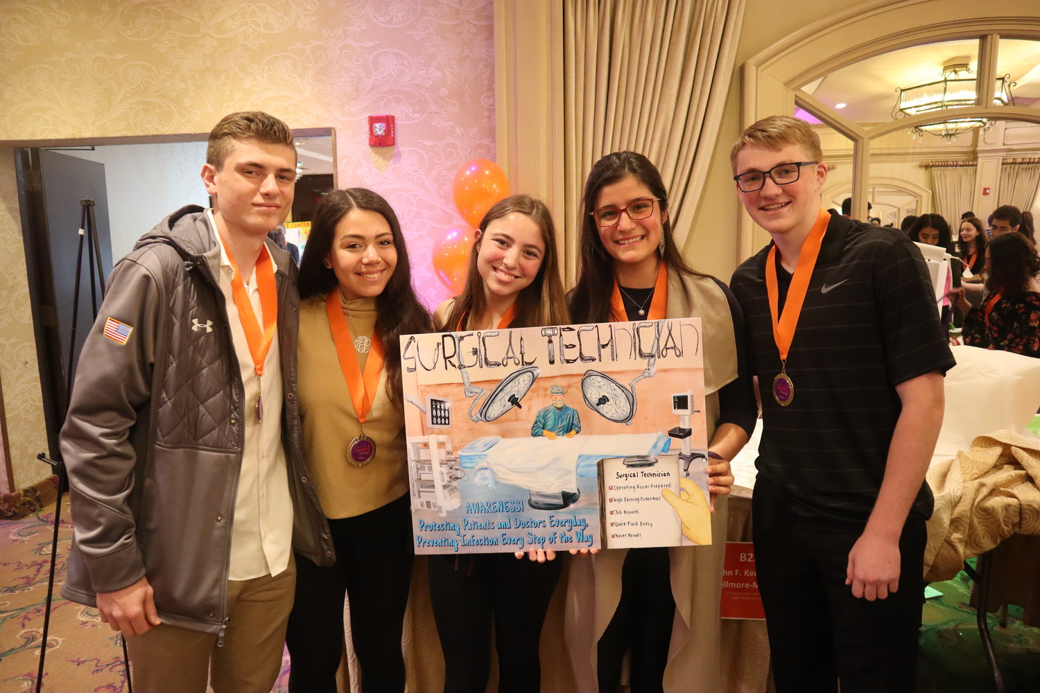 The John F. Kennedy Northwell SPARK! team that visited Glen Cove Hospital took first place in the poster competition: Jake Levine, far left, Randi Finkelstein, Ashley Camisso, Lauren Rhakimov and Pierce Infuso.