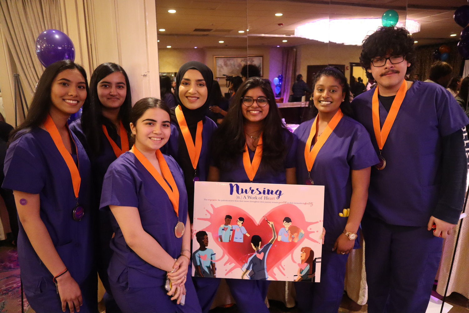 Valley Stream Central High School students won third place in the poster competition for their illustration about Northwell nurses.
