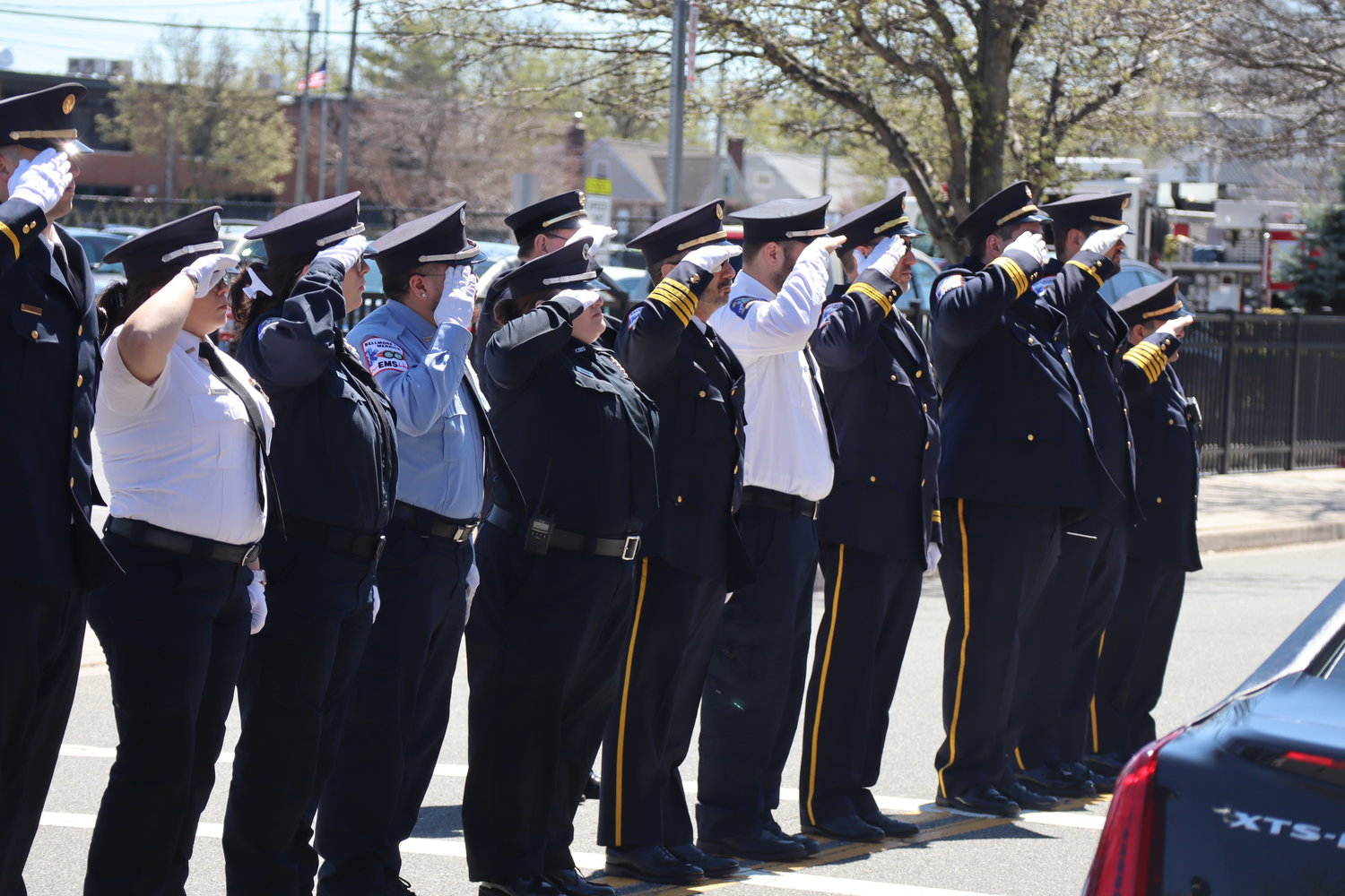 The Bellmore-Merrick Emergency Medical Services squad honored Thomas DeFrancisci at his funeral on Tuesday in Bellmore.