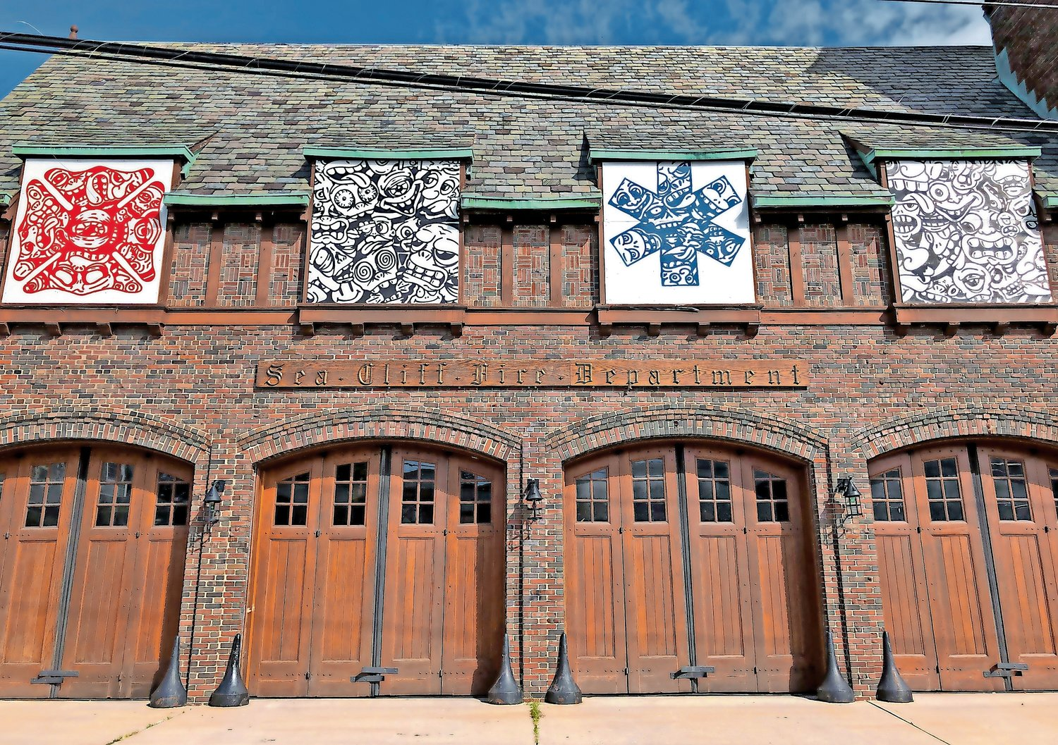 During renovations, the windows of the Sea Cliff Firehouse were replaced by an eye-catching art installation designed by local artist James Roth.