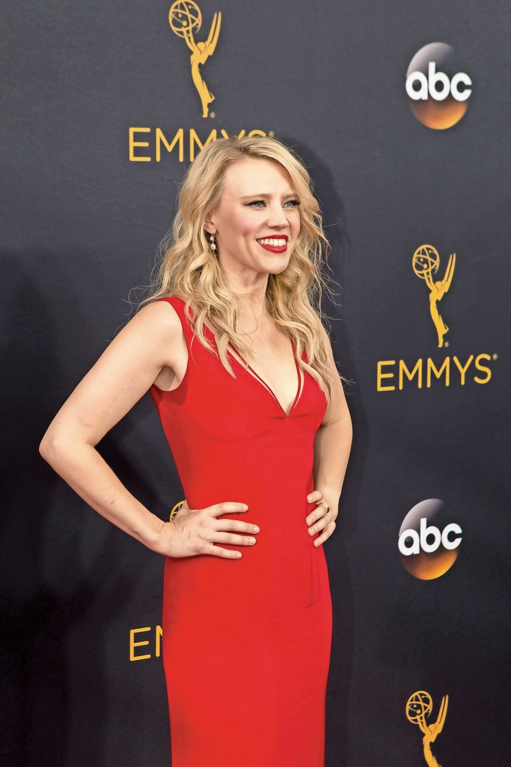 Actress Kate McKinnon, who graduated from North Shore High School in 2002, on the red carpet at the 68th Emmy Awards.