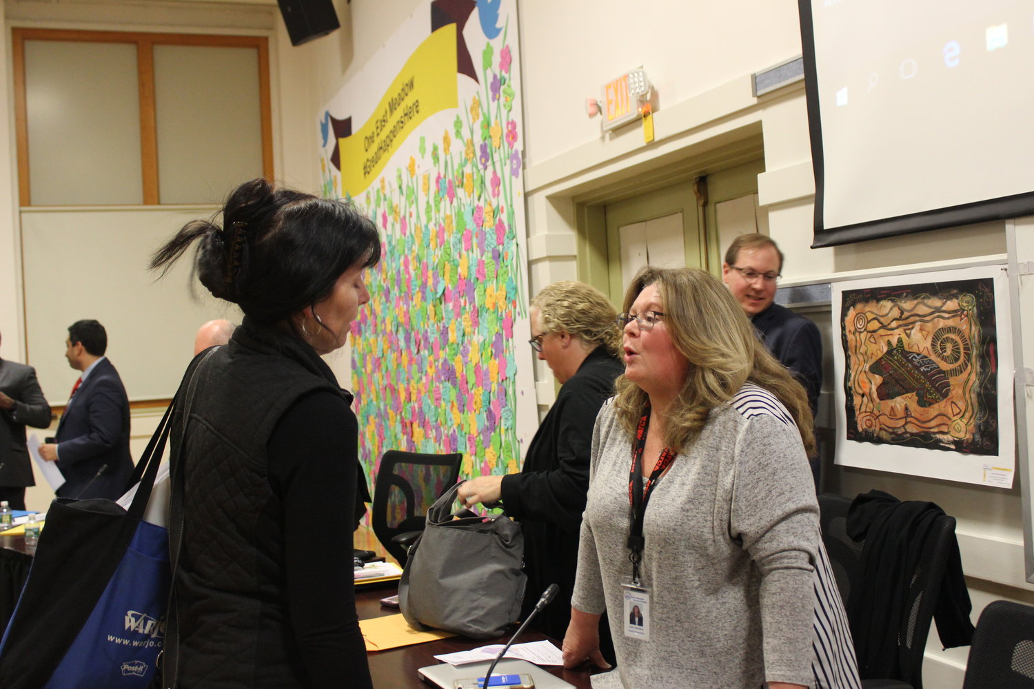 Trustee Eileen Napolitano thanked a district parent who advocated for increasing mental health education at a Board of Education meeting on April 10.