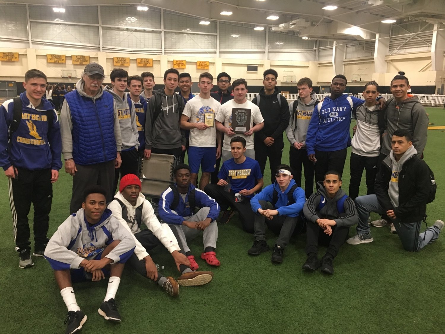 The East Meadow High School boys winter track team won a sixth straight conference championship this year.