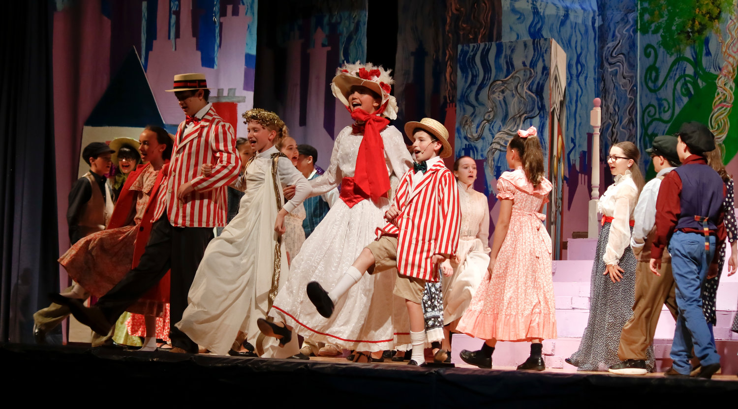 "The cast and ensemble performed ""Jolly Holiday."" From left, Jane Banks played by Bella Masterson, Bert played by Jake Truncale, Neleus played by Victoria Confusione, Mary Poppins played by Summer Hubert and Michael Banks played by Kevin Kirley."