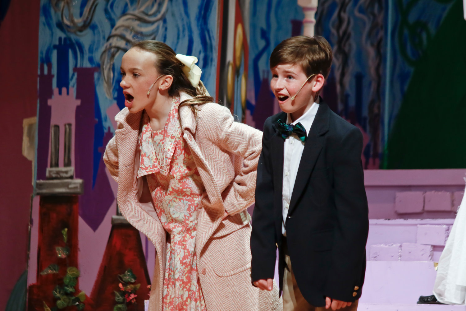 "Jane and Michael Banks, played by Bella Masterson and Kevin Kirley, sang ""Jolly Holiday"" in St. Agnes Cathedral School's performance of ""Mary Poppins Jr."" last weekend."