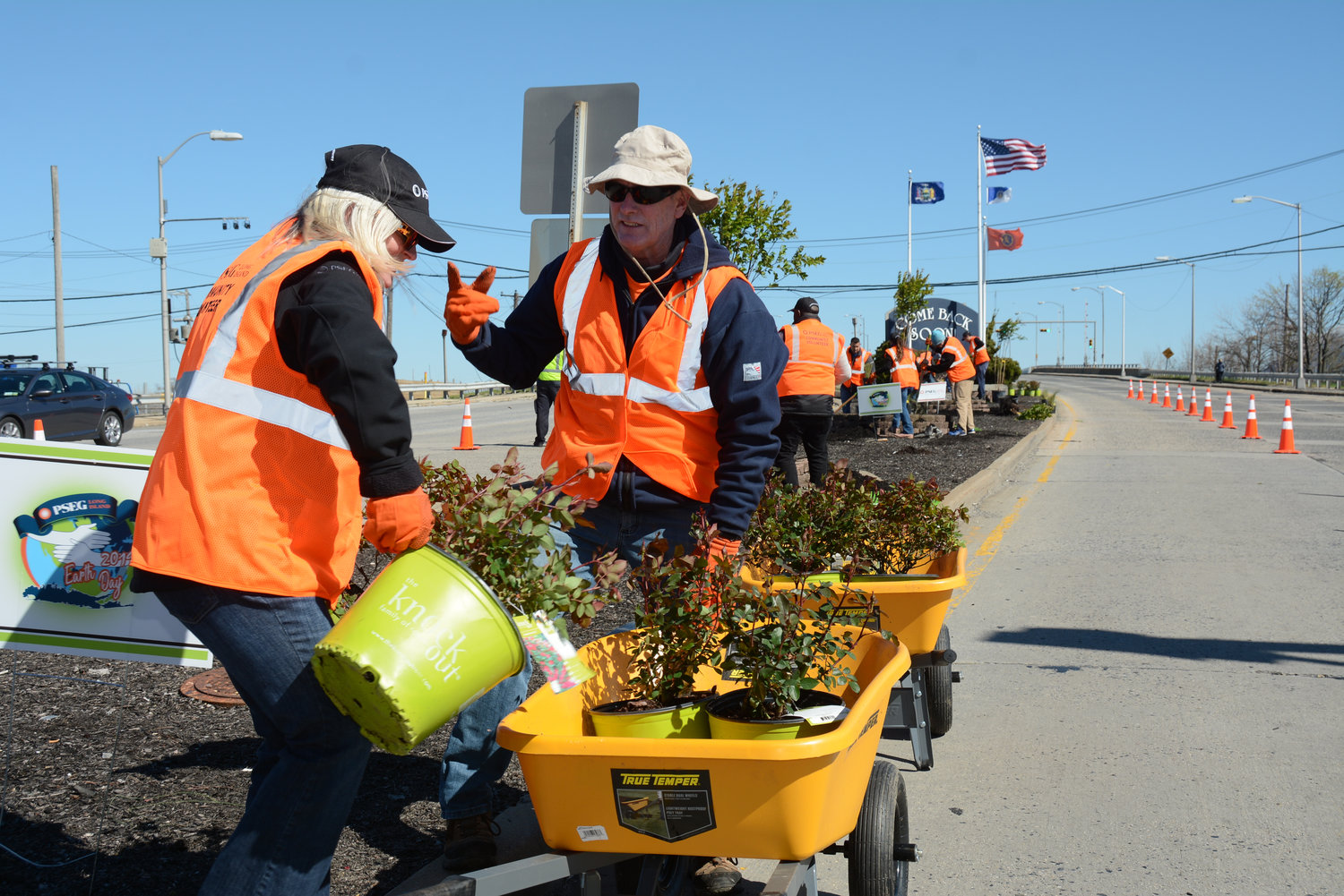 Long Beach resident and PSEG employee Terry Blackburn worked with his colleague, Leighann Thomas, to beautify the median of Long Beach Boulevard as part of PSEG Long Island's Earth Week activities on Tuesday.