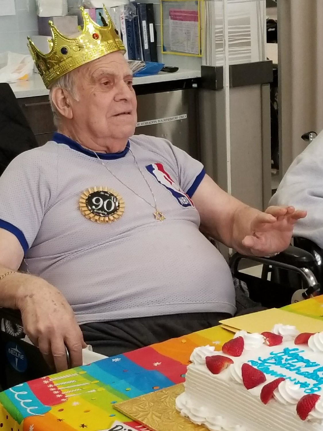 Hall of Fame NBA referee Manny Sokolofsky celebrated his 90th birthday at the Oceanside Care Center last month.
