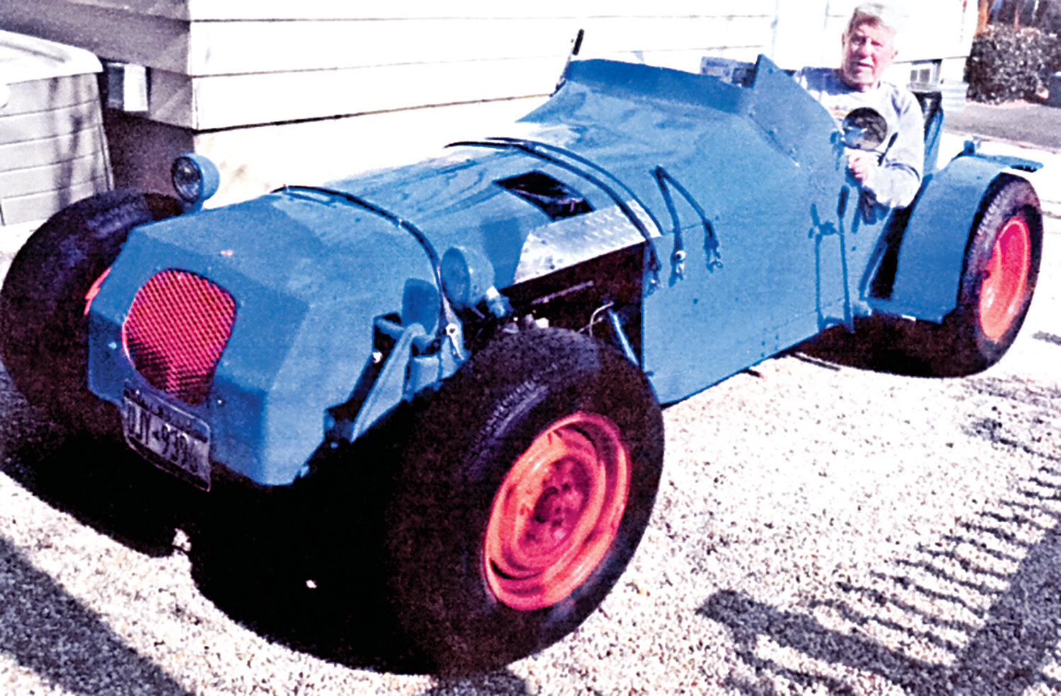 Road Panther Roger Thyben built his own hot rod out of discarded lockers from Locust Valley High School.
