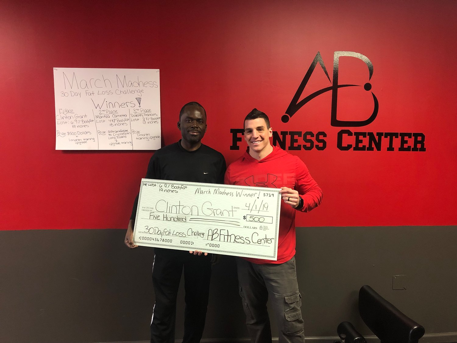 Clinton Grant took home first place in the AB Fitness Center weight loss challenge, shedding 6.9 percent body fat and 19 inches.