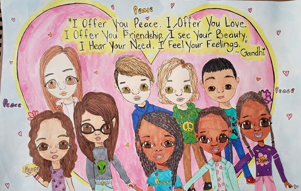 Laiyla Salome-Diaz's artwork was a picture she drew for her fried Taliyah and her with their friends at school. The depicted peace and demonstrated the beliefs of Mahatma Gandhi.