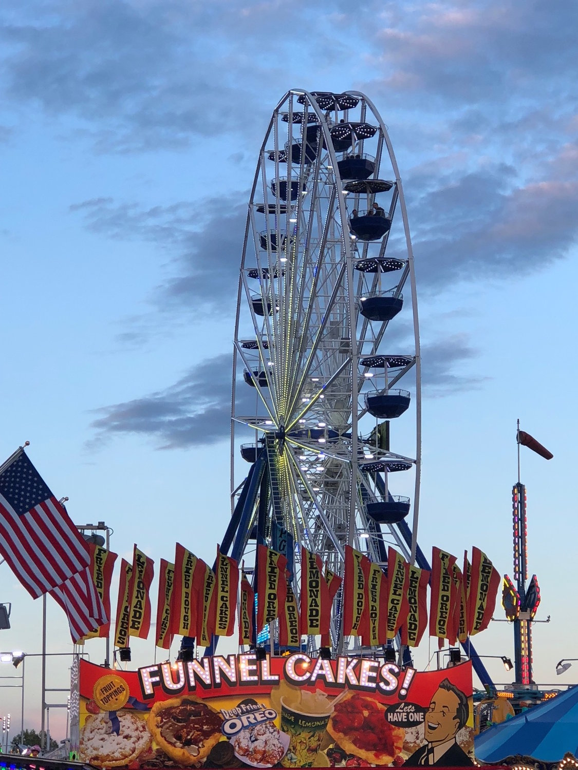 The giant Ferris wheel commands attention throughout the fairgrounds.