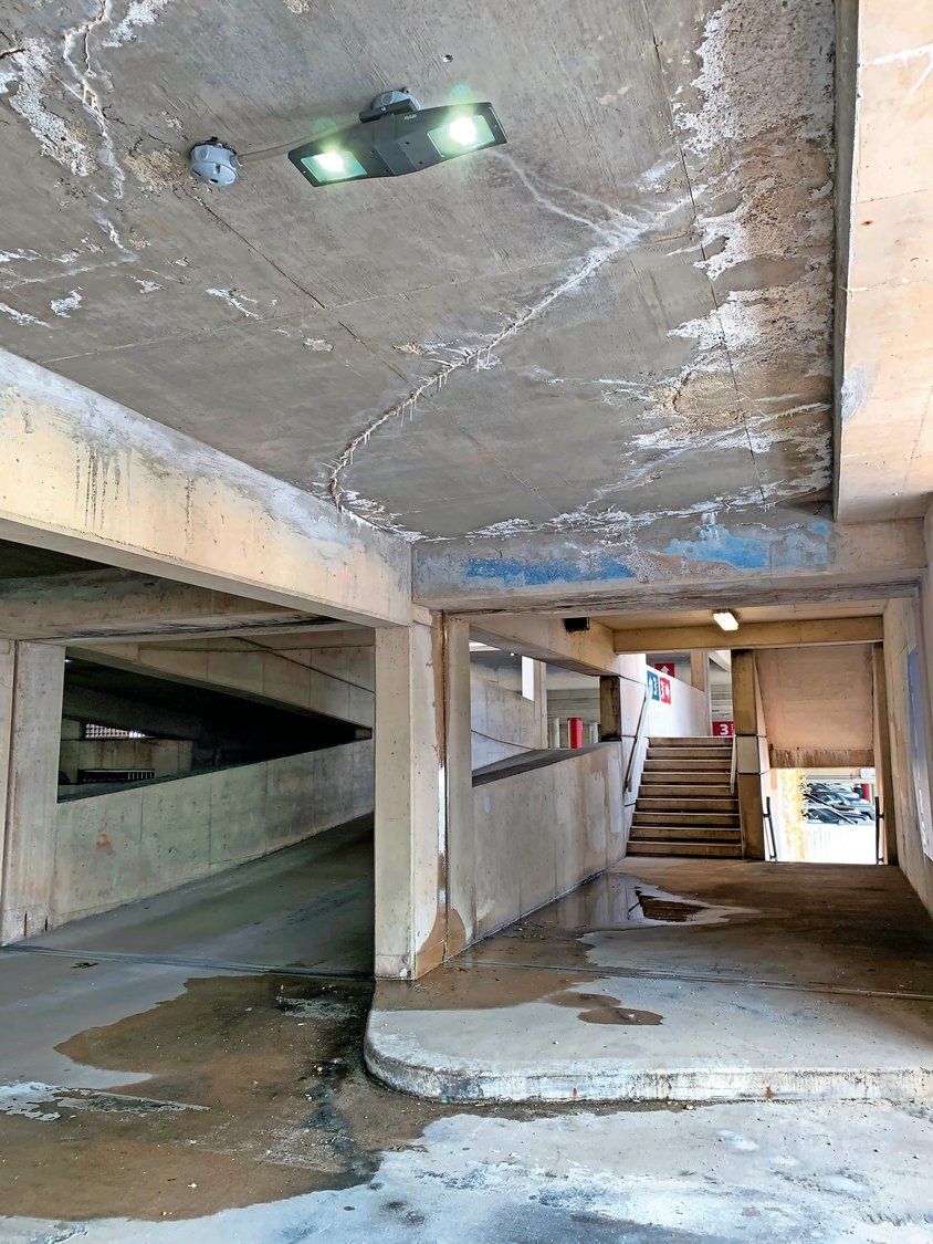 The floors and ceilings on every level of the Brewster Street garage are damaged, with cracks, potholes and falling concrete.
