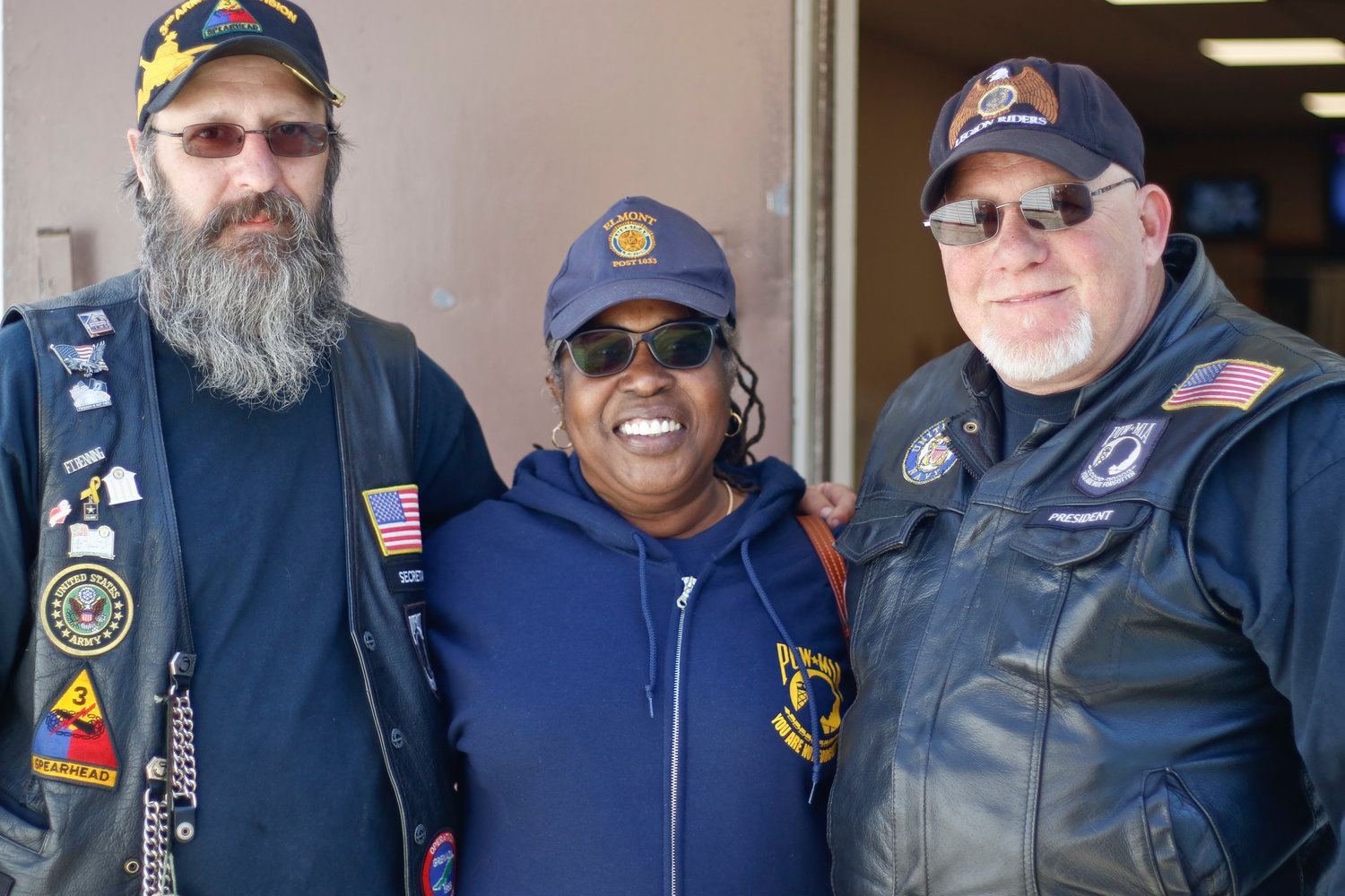 From left, Legion Riders Secretary Bill Depietro, Post Commander Lecia Rodriques-Whyte and Legion Riders President Bill Stegman helped organizers this year's Blessing of the Bikes.