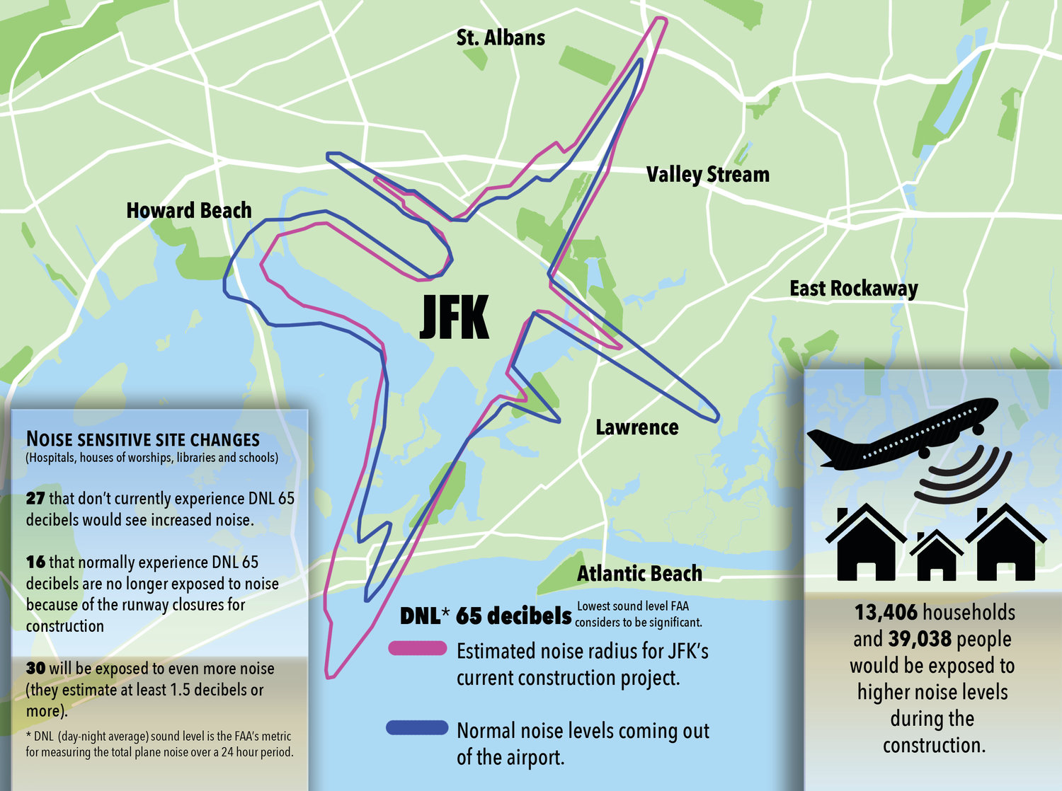 Map Of New York Showing Jfk Airport.Valley Stream Hit With More Plane Noise As Jfk Runway Construction