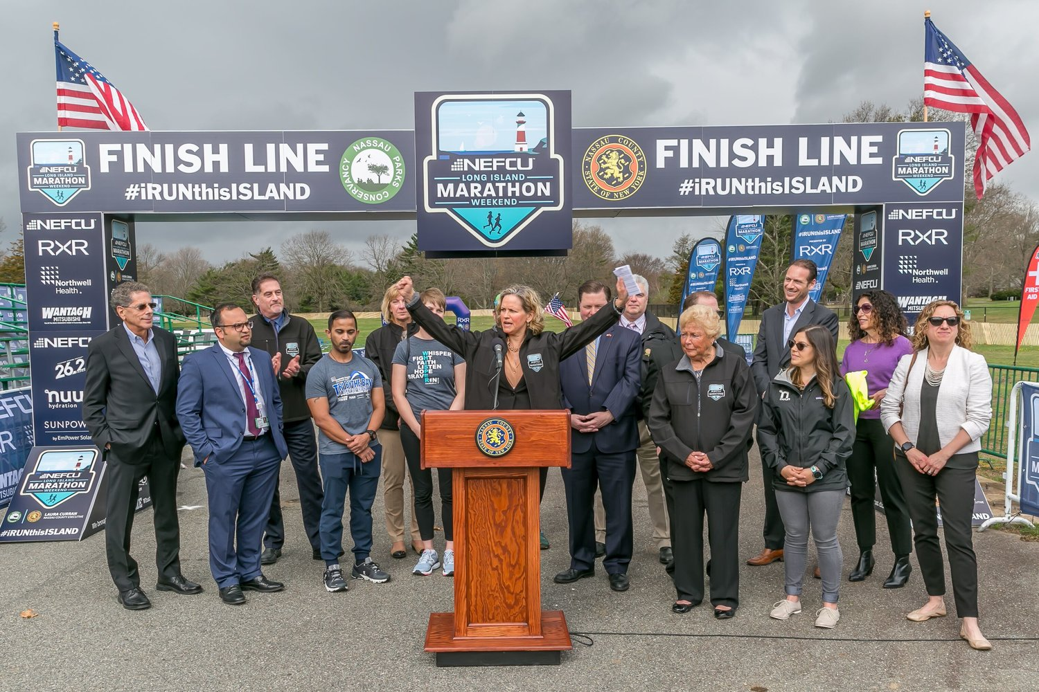 Nassau County Executive Laura Curran visited the starting line of the NEFCU 2019 Long Island Marathon, named for its new title sponsor, on April 15 to announce the changes made to the course and race weekend.