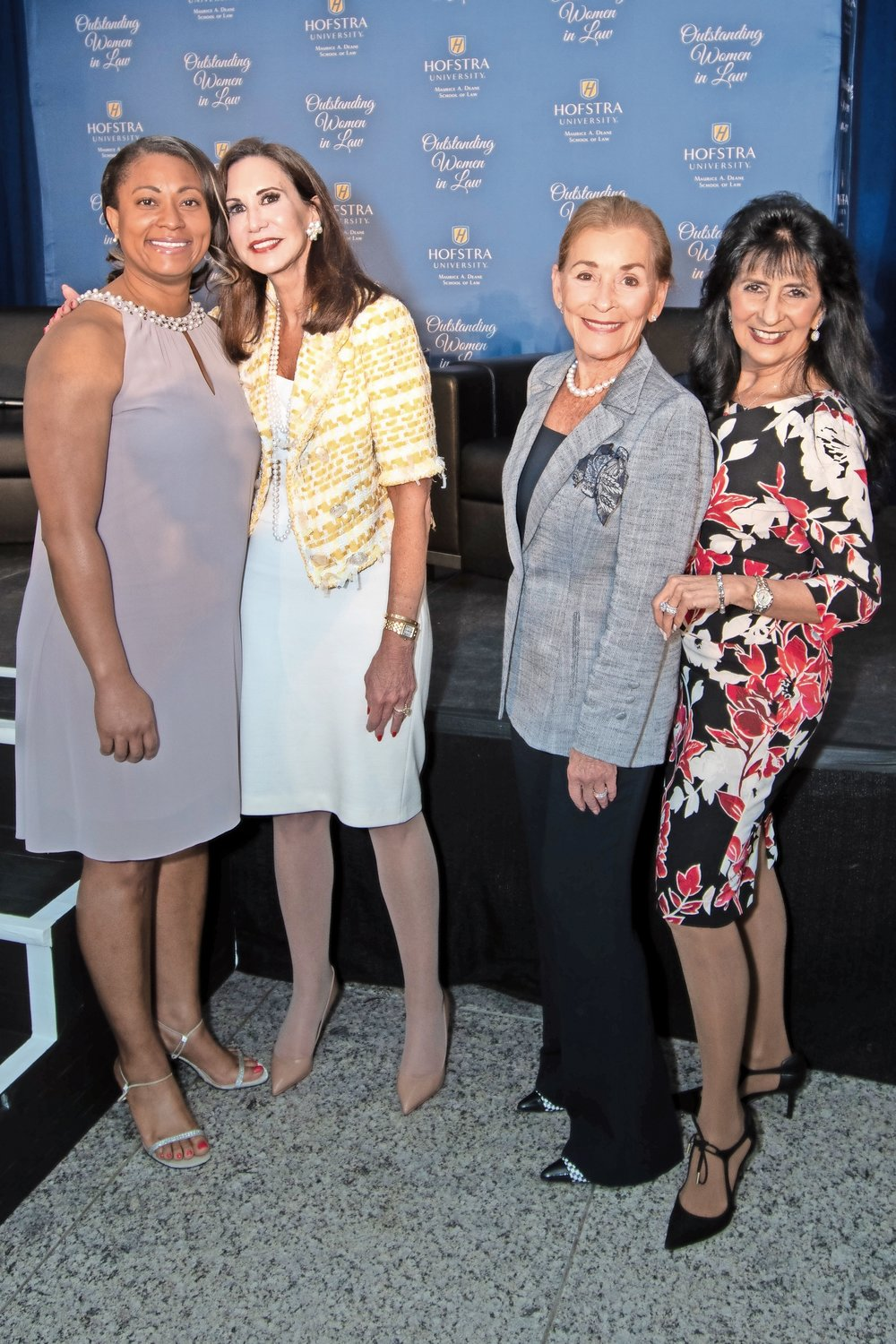 Joining in the event were, from left, Krystal Brumfield, president and CEO, Airport Minority Advisory Council; Judge Gail Prudenti, dean of Hofstra Law; Judge Judy Sheindlin; Lynn Boccio, vice president, Strategic Business and Diversity Relations, Avis Budget Group.