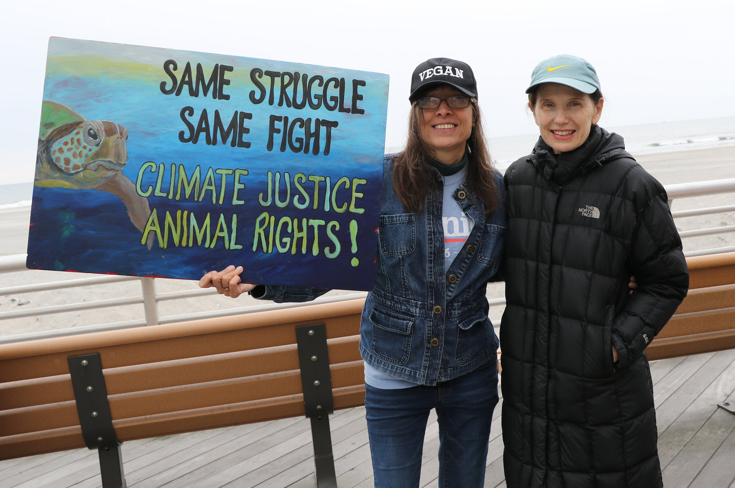 Irene Ippolito and Liz Moseman joined the rally on the boardwalk.