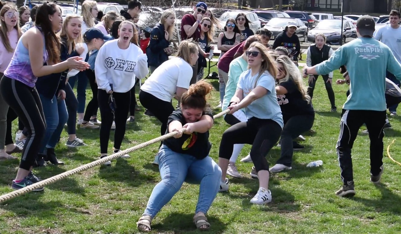 Sororities participated in a tug of war competition to conclude the day of events at the third annual Fireman's Challenge.