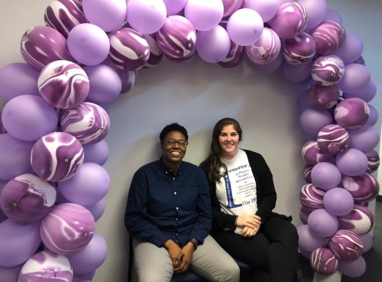 Morgan Wright, left, an American Cancer Society representative, and Kathleen Lieblich, Hofstra's assistant director of student advocacy and prevention awareness, helped to organize the Relay for Life.