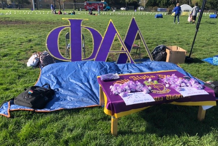 The Phi Alpha Delta table at the Relay for Life event at Hofstra University.