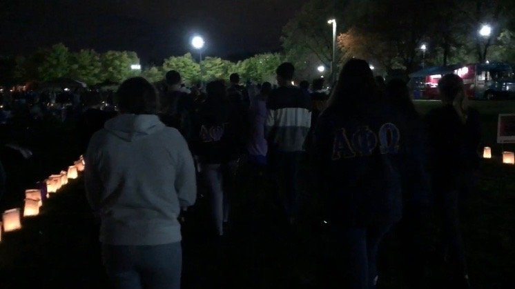 Hofstra students taking part in the Relay for Life at night.