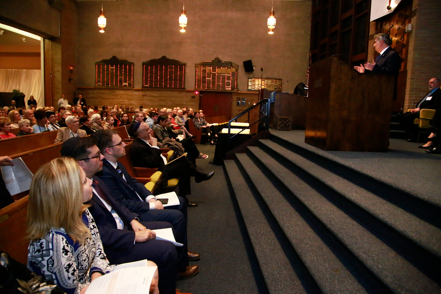 Rabbi Joseph Potasnik, whose parents were Holocaust survivors, was the guest speaker at a Holocaust Remembrance Day ceremony at Congregation Shaaray Shalom in West Hempstead on May 1.