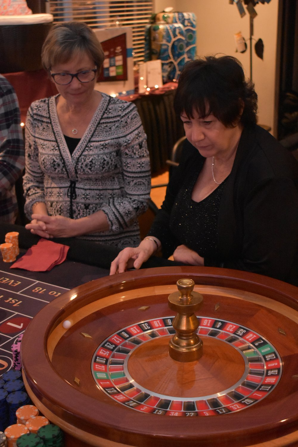 Maureen Jordan, left, and Susan Battista tried roulette.