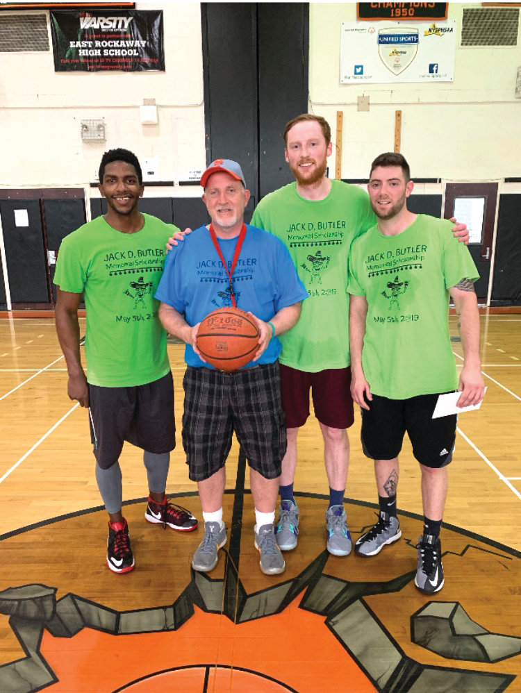 The 2019 champions, from left, Sheldon Jones, Lores, Matthew Fuller and Jerry Ventrello, who won the scholarship game for the third straight year.