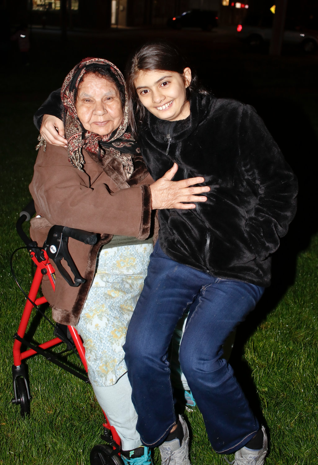 Nafees Begum, 74, with her 13-year-old granddaughter Ansa Kahn.
