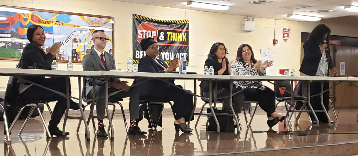"The Nassau County Region PTA moderate a ""Meet the Candidates"" forum at J.W. Dodd Middle School on May 1. Candidates, from left Tanyira Taylor, Jeremy Impellizeri, Sophia Johnson, Gabriela Castillo and Maria Jordan-Awalom answered community questions and concerns collected and asked by Kimberly Bell, far right."