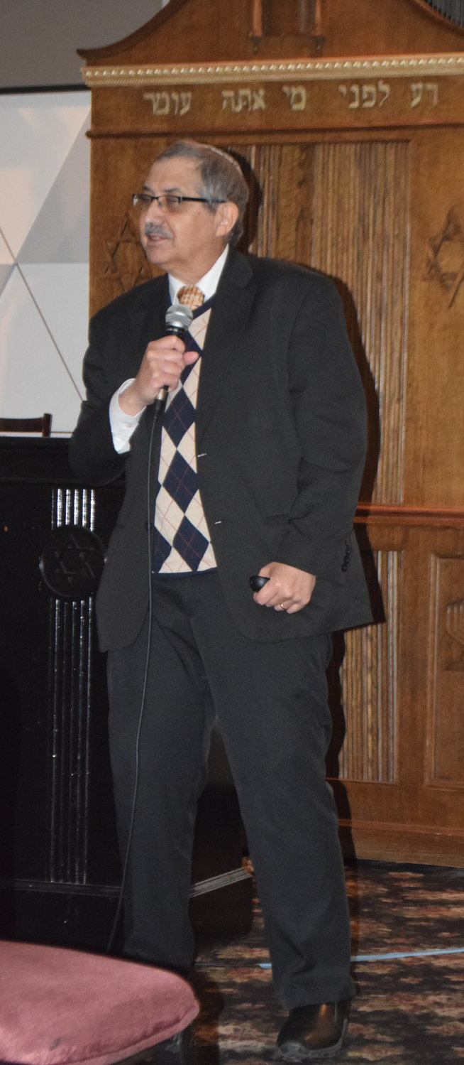 Dr. Richard Freund, an archeologist and professor and at the University of Hartford, spoke on history and the Holocaust at Temple Beth El in Cedarhurst on May 1.