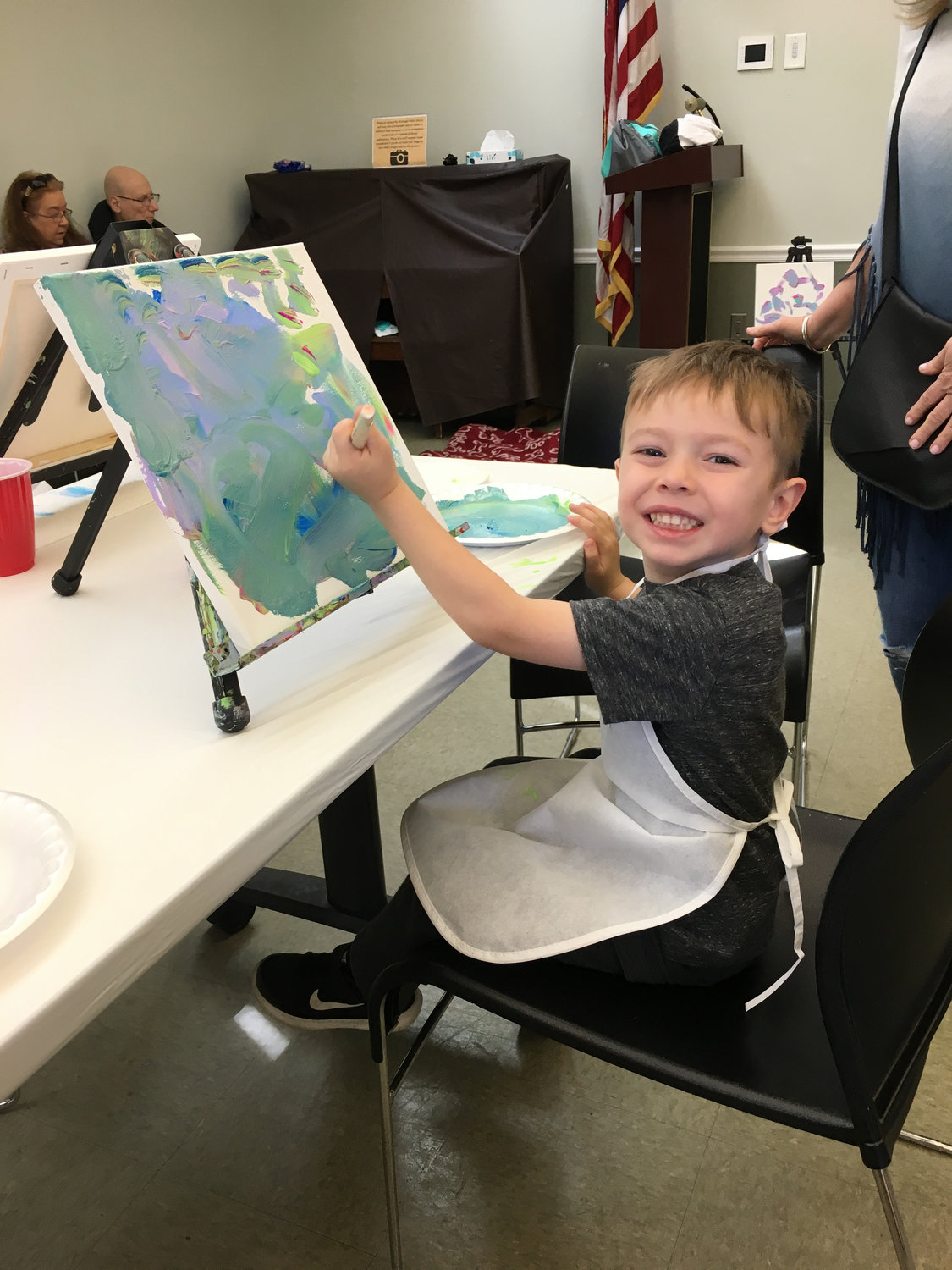 Three-year-old Jaxon Santopietro created an abstract painting in the style of DogVinci.