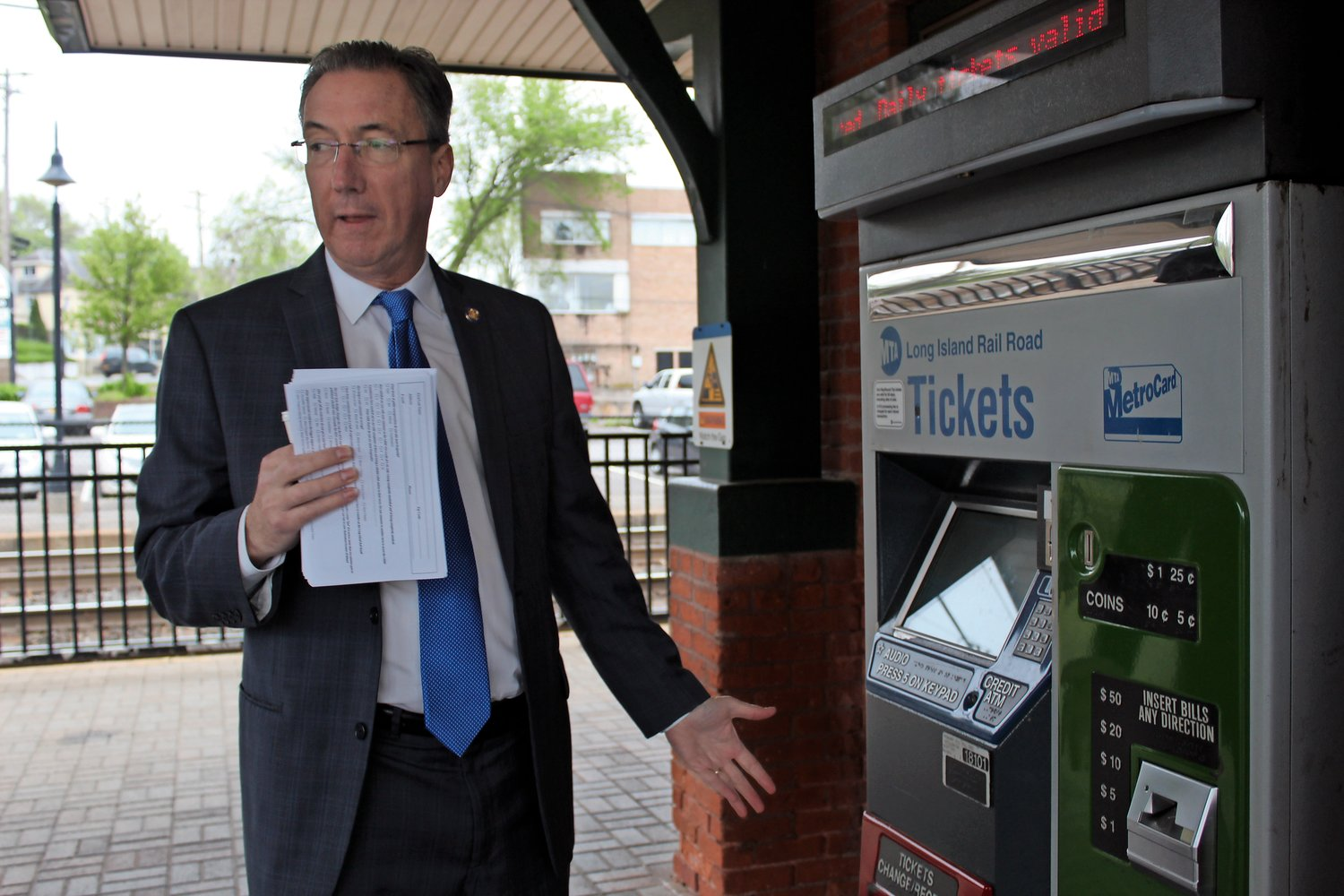 State Senator Jim Gaughran bought a peak ticket from the LIRR ticket terminal at the Glen Street station in Glen Cove.