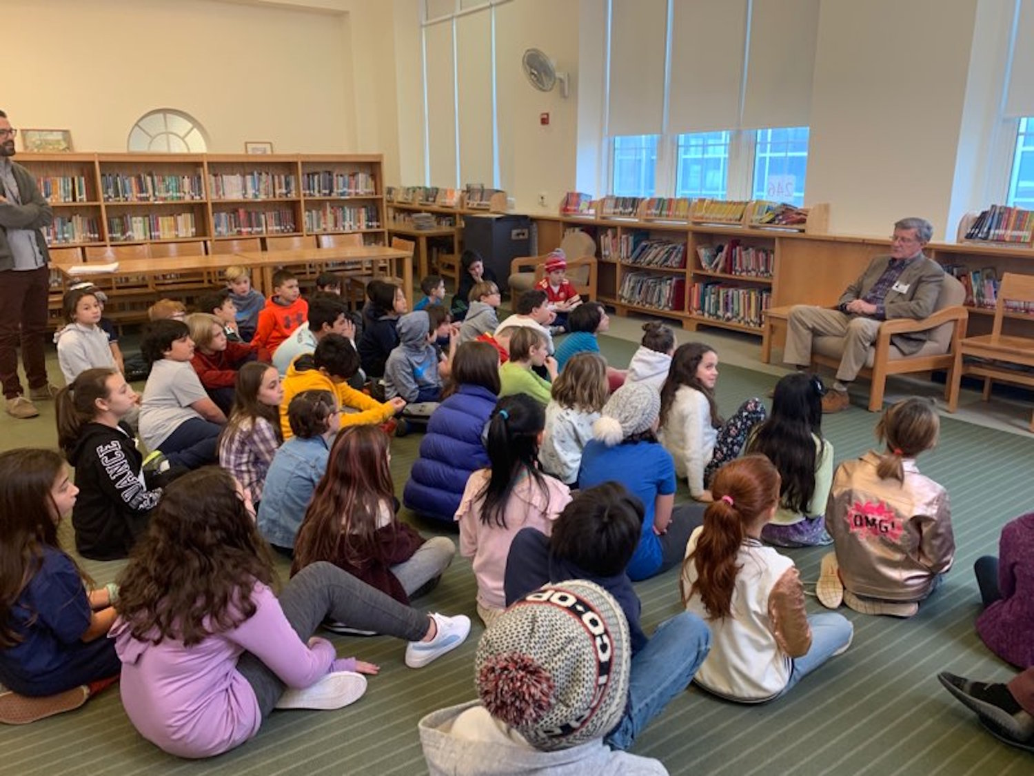 The composer Carl Strommen, of Glen Head, met with Sea Cliff Elementary School students to discuss what it's like to be a composer. The current fifth-graders wrote the lyrics for the school's new anthem.
