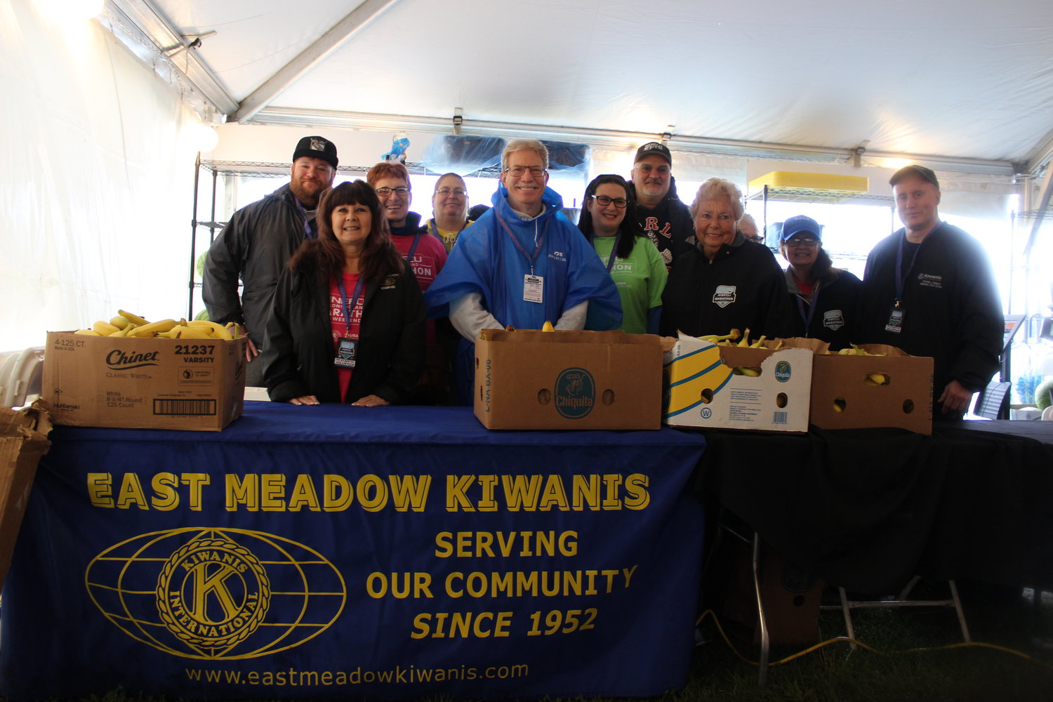 East Meadow Kiwanis showed support by volunteering at the Marathon's registration tent.