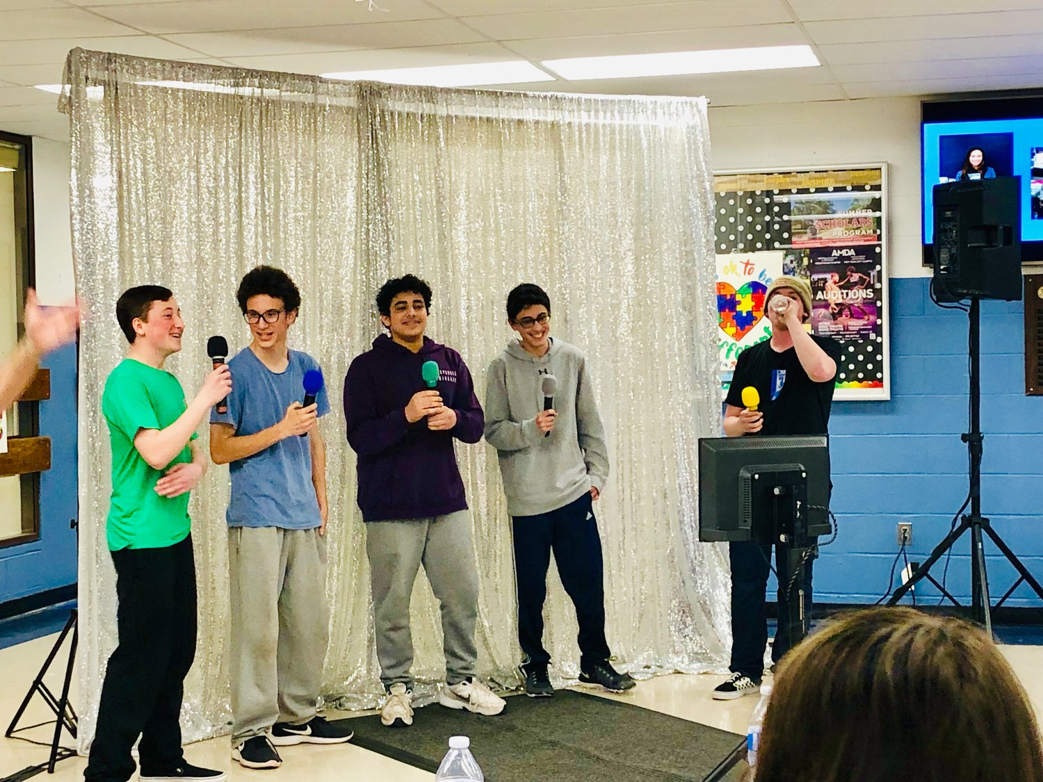 High School students sang karaoke at Teen Nite Out at the high school on April 12.