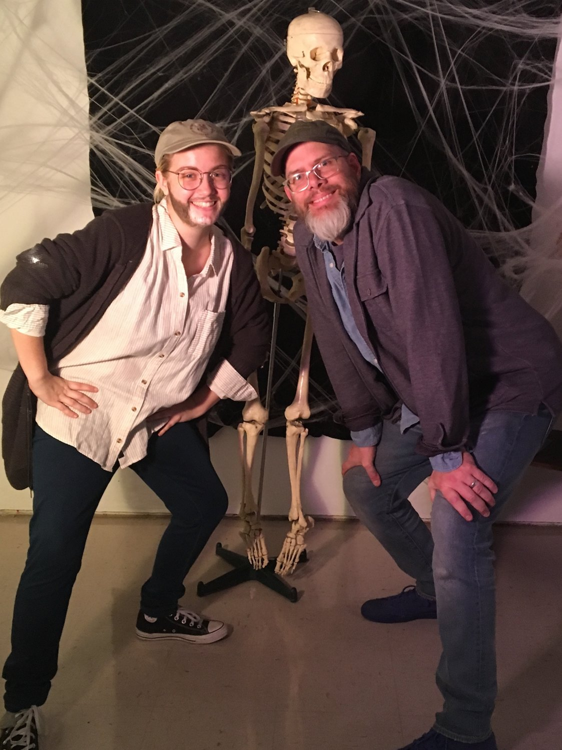 "Dana Kamieniecki, Hofstra fine arts senior, and Lee at the fine art department Halloween Party, 2018. Kamieniecki dressed up as Professor Lee for the night, and in her words, ""He was shocked."""
