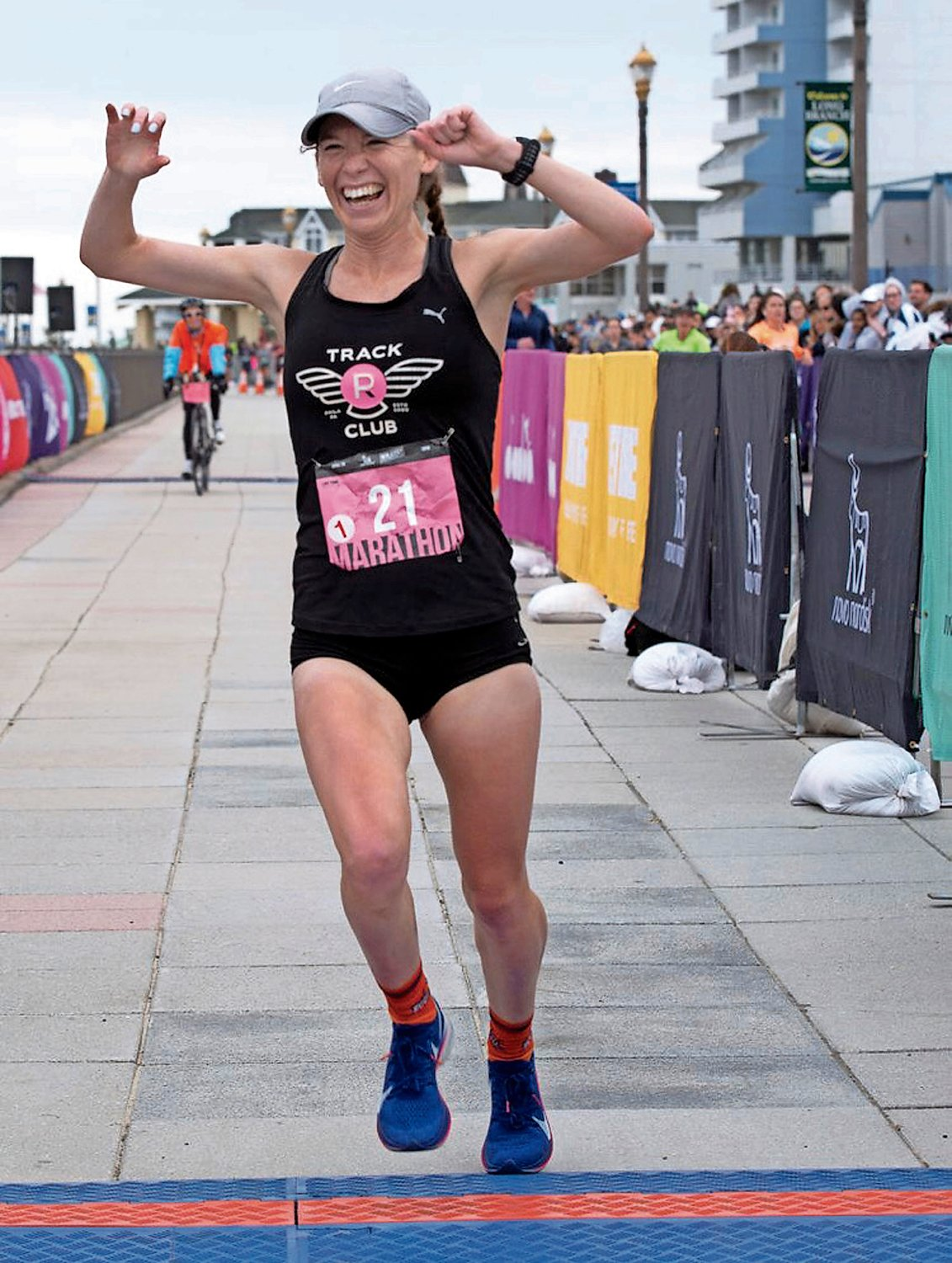 Malverne native Kylie Pearse, 26, could barely contain her excitement as she crossed the finish line at the New Jersey Marathon on April 28.